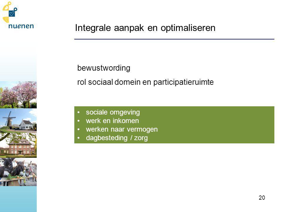 Integrale aanpak en optimaliseren bewustwording rol sociaal domein en participatieruimte sociale omgeving werk en inkomen werken naar vermogen dagbesteding / zorg 20