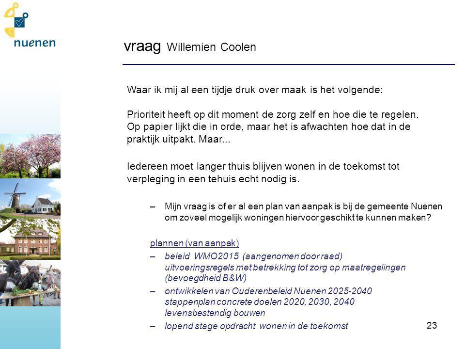 vraag Willemien Coolen Waar ik mij al een tijdje druk over maak is het volgende: Prioriteit heeft op dit moment de zorg zelf en hoe die te regelen.