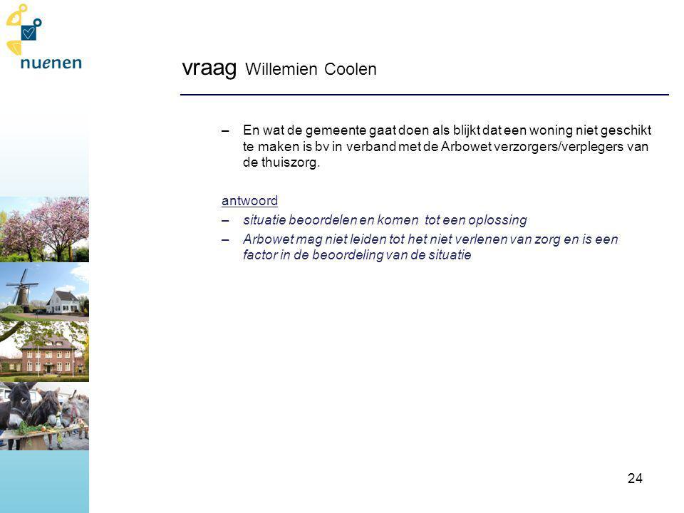 vraag Willemien Coolen –En wat de gemeente gaat doen als blijkt dat een woning niet geschikt te maken is bv in verband met de Arbowet verzorgers/verplegers van de thuiszorg.