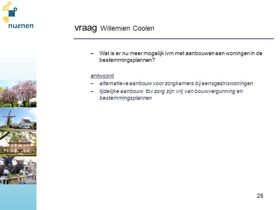 vraag Willemien Coolen –Wat is er nu meer mogelijk ivm met aanbouwen aan woningen in de bestemmingsplannen.