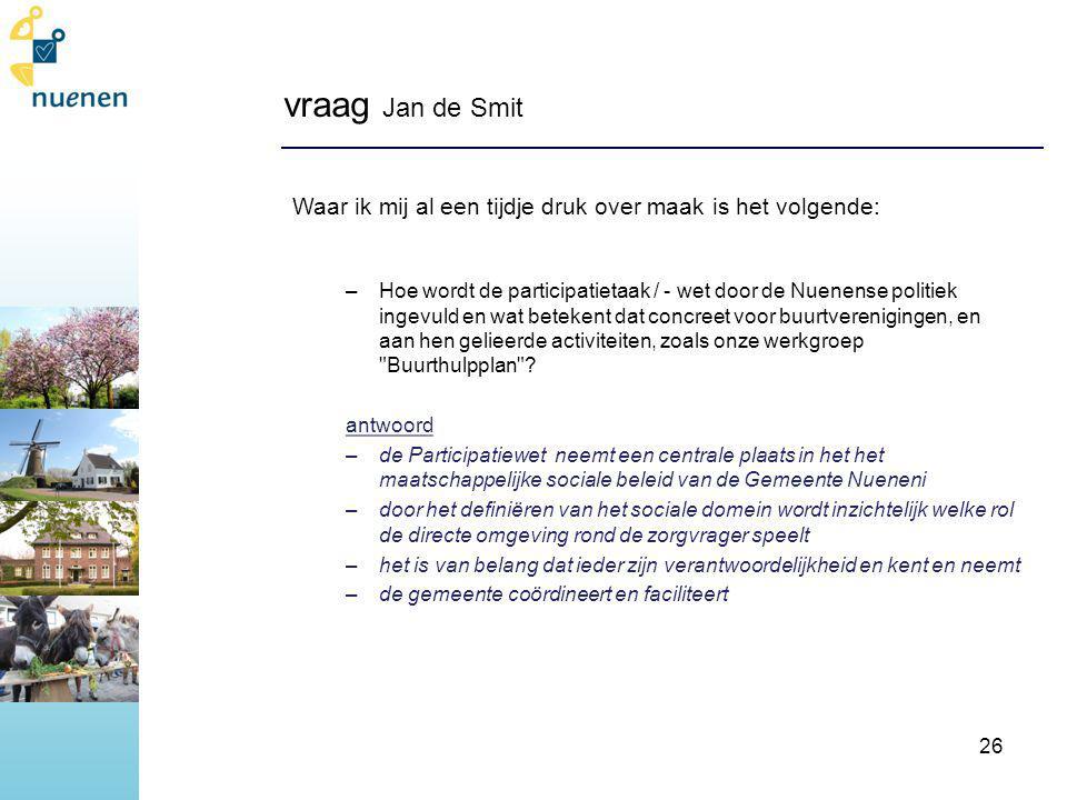 vraag Jan de Smit Waar ik mij al een tijdje druk over maak is het volgende: –Hoe wordt de participatietaak / - wet door de Nuenense politiek ingevuld en wat betekent dat concreet voor buurtverenigingen, en aan hen gelieerde activiteiten, zoals onze werkgroep Buurthulpplan .