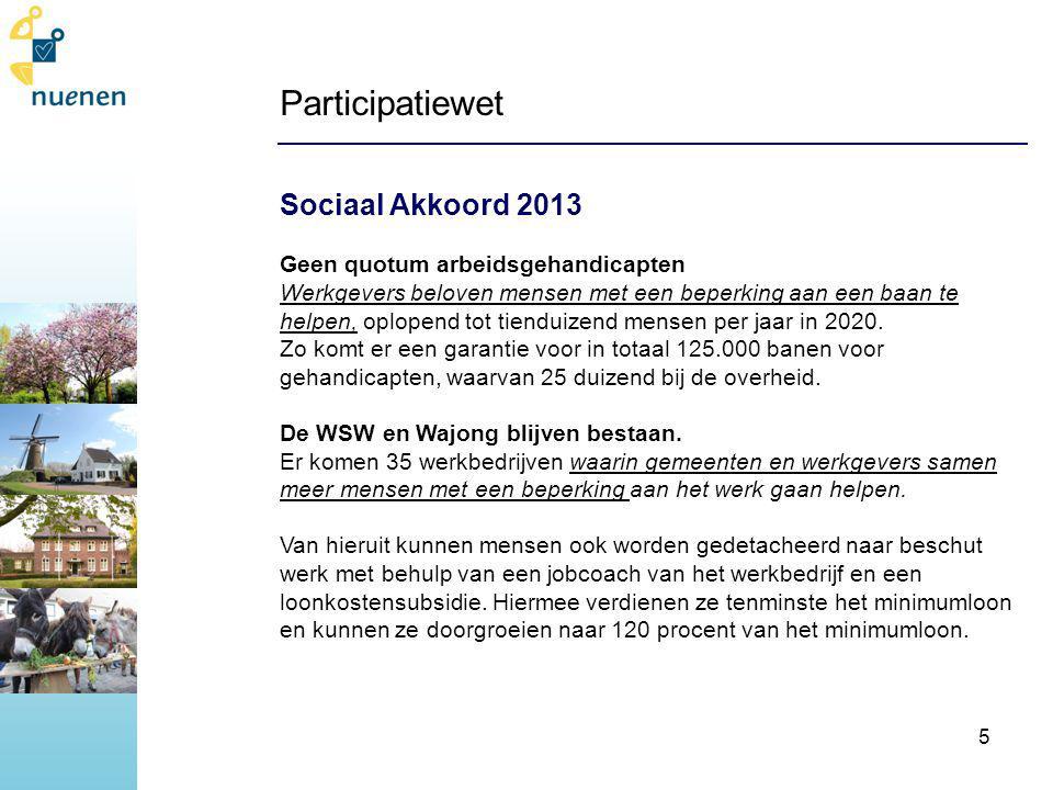 Participatiewet Sociaal Akkoord 2013 Geen quotum arbeidsgehandicapten Werkgevers beloven mensen met een beperking aan een baan te helpen, oplopend tot tienduizend mensen per jaar in 2020.