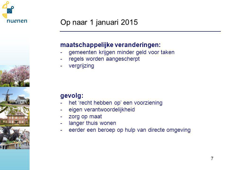 Op naar 1 januari 2015 uitgangspunten gemeente Nuenen: -zorg gaat voor geld -mensen die zorg nodig hebben, krijgen het, óók in de nieuwe situatie -keukentafelgesprekken -koesteren mantelzorger -zelfredzaamheid, eigen verantwoordelijkheid -gemeente coördineert en faciliteert 8
