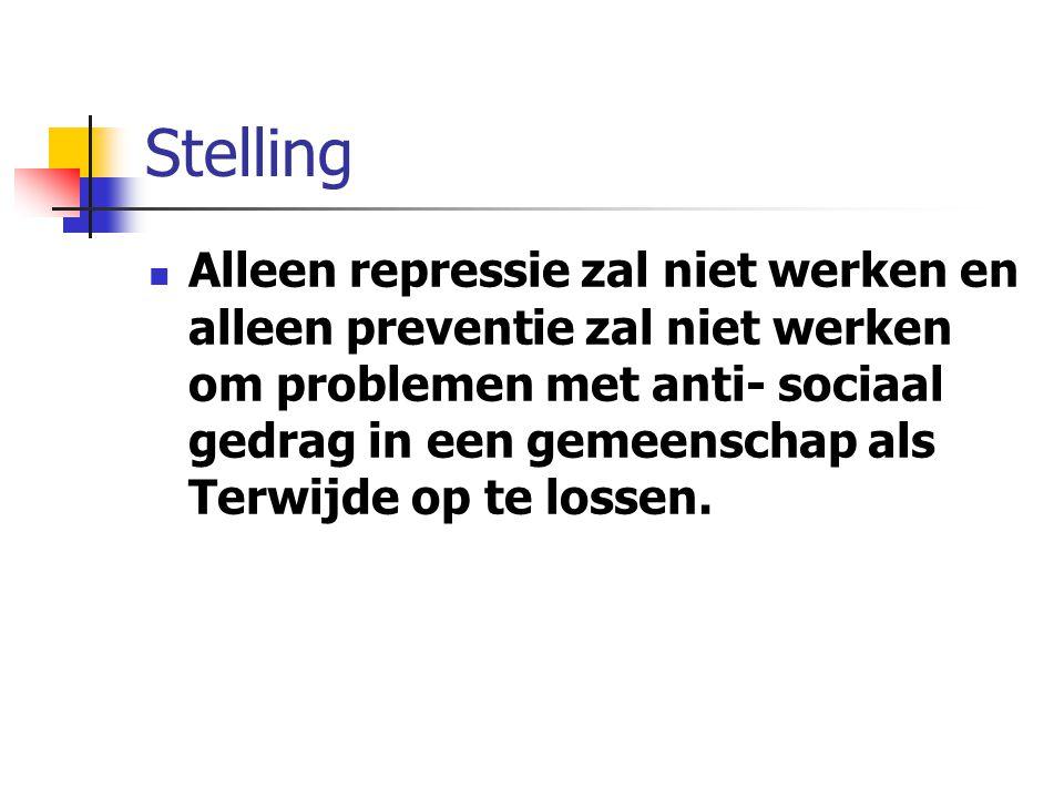 Stelling Alleen repressie zal niet werken en alleen preventie zal niet werken om problemen met anti- sociaal gedrag in een gemeenschap als Terwijde op te lossen.