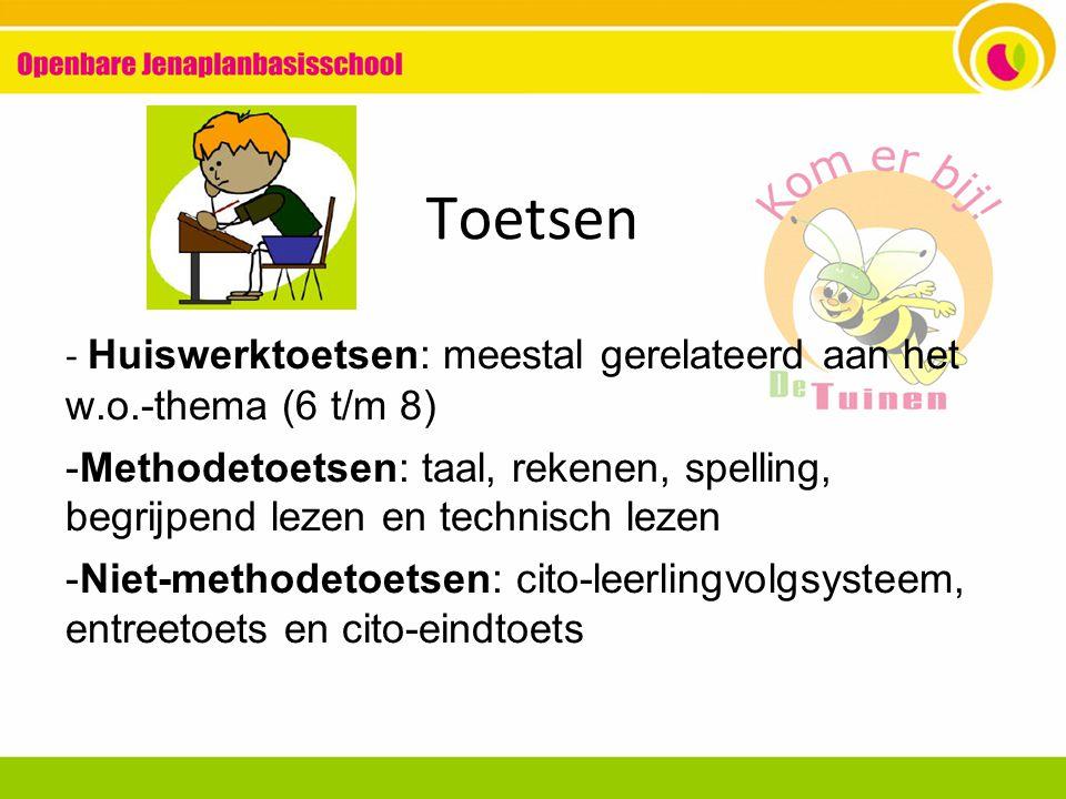 Toetsen - Huiswerktoetsen: meestal gerelateerd aan het w.o.-thema (6 t/m 8) -Methodetoetsen: taal, rekenen, spelling, begrijpend lezen en technisch le