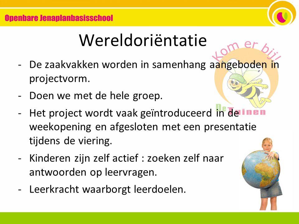 Wereldoriëntatie -De zaakvakken worden in samenhang aangeboden in projectvorm.