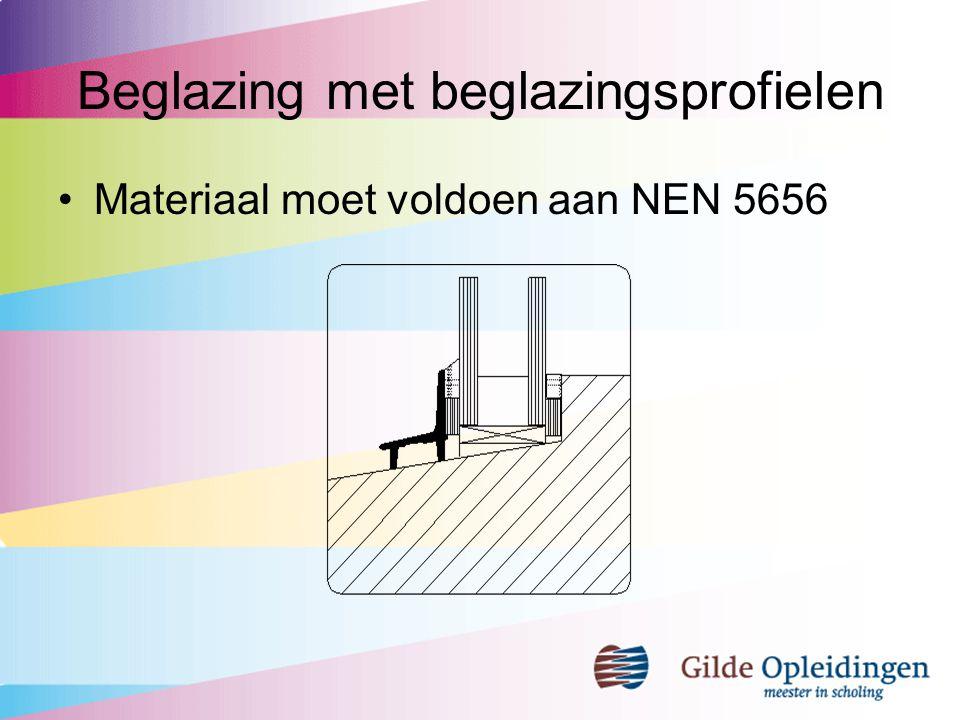 Beglazing met beglazingsprofielen Materiaal moet voldoen aan NEN 5656
