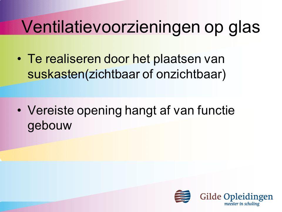 Ventilatievoorzieningen op glas Te realiseren door het plaatsen van suskasten(zichtbaar of onzichtbaar) Vereiste opening hangt af van functie gebouw