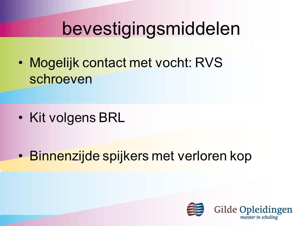 bevestigingsmiddelen Mogelijk contact met vocht: RVS schroeven Kit volgens BRL Binnenzijde spijkers met verloren kop