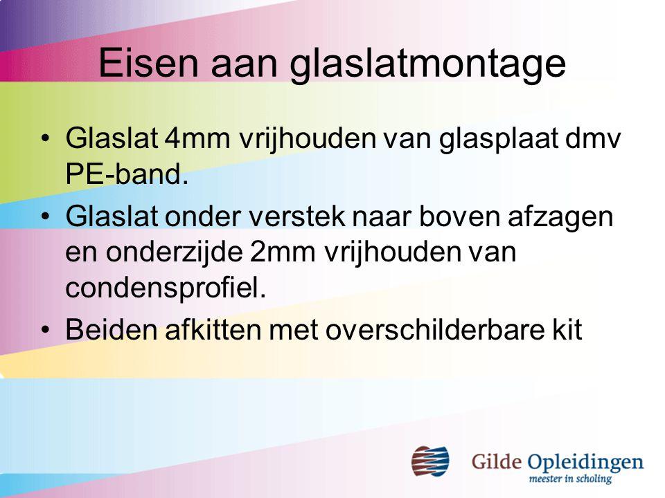 Stel- en steunblokjes ten behoeve van belucht systeem Zijkanten glasplaat 4mm vrijhouden van kozijnhout Onderzijde 5mm vrijhouden van onderdorpel Glaslat beneden 5mm vrijhouden van onderdorpel