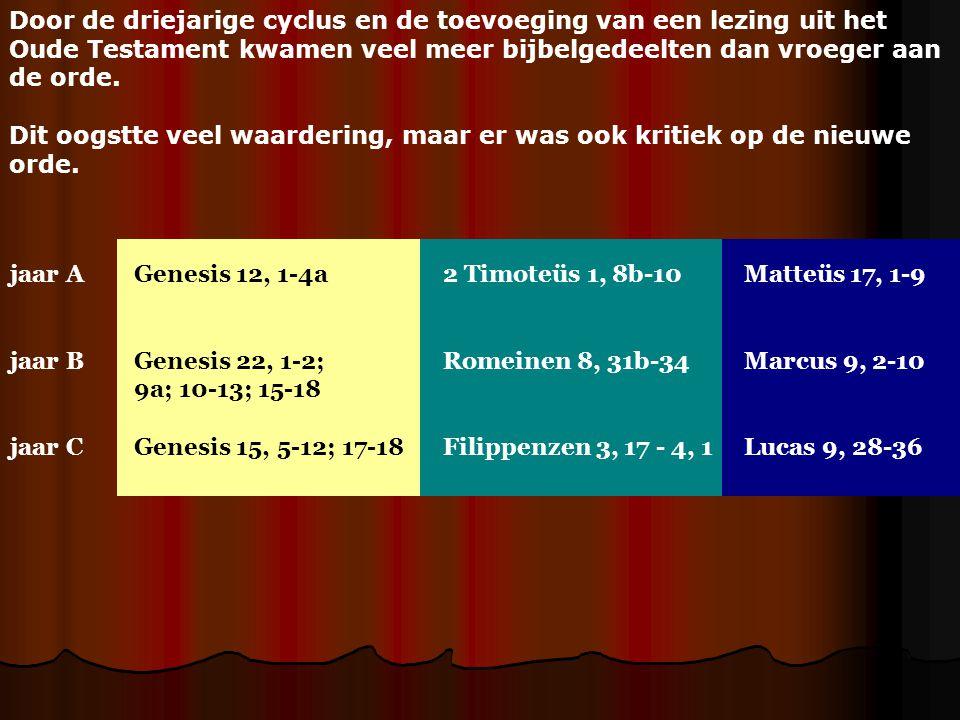 Door de driejarige cyclus en de toevoeging van een lezing uit het Oude Testament kwamen veel meer bijbelgedeelten dan vroeger aan de orde. Dit oogstte