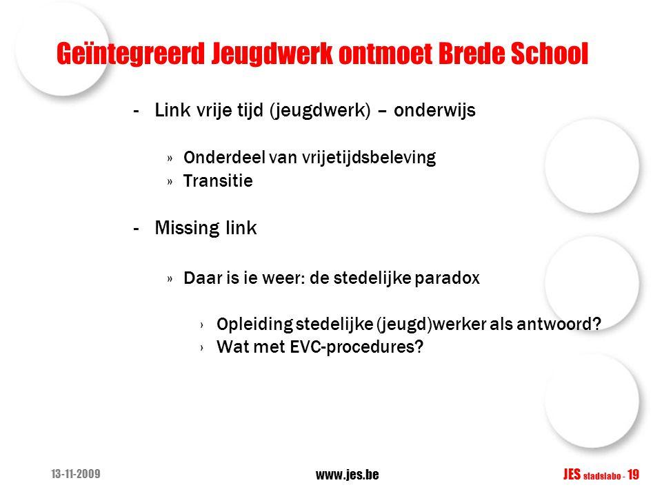Geïntegreerd Jeugdwerk ontmoet Brede School -Link vrije tijd (jeugdwerk) – onderwijs »Onderdeel van vrijetijdsbeleving »Transitie -Missing link »Daar