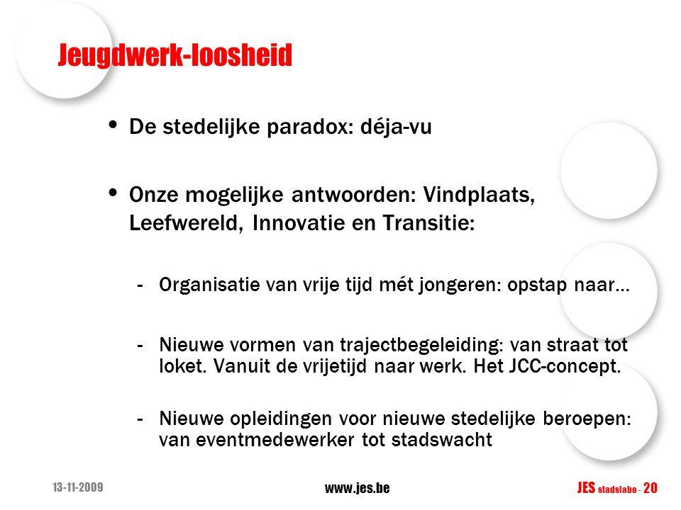Jeugdwerk-loosheid De stedelijke paradox: déja-vu Onze mogelijke antwoorden: Vindplaats, Leefwereld, Innovatie en Transitie: -Organisatie van vrije ti