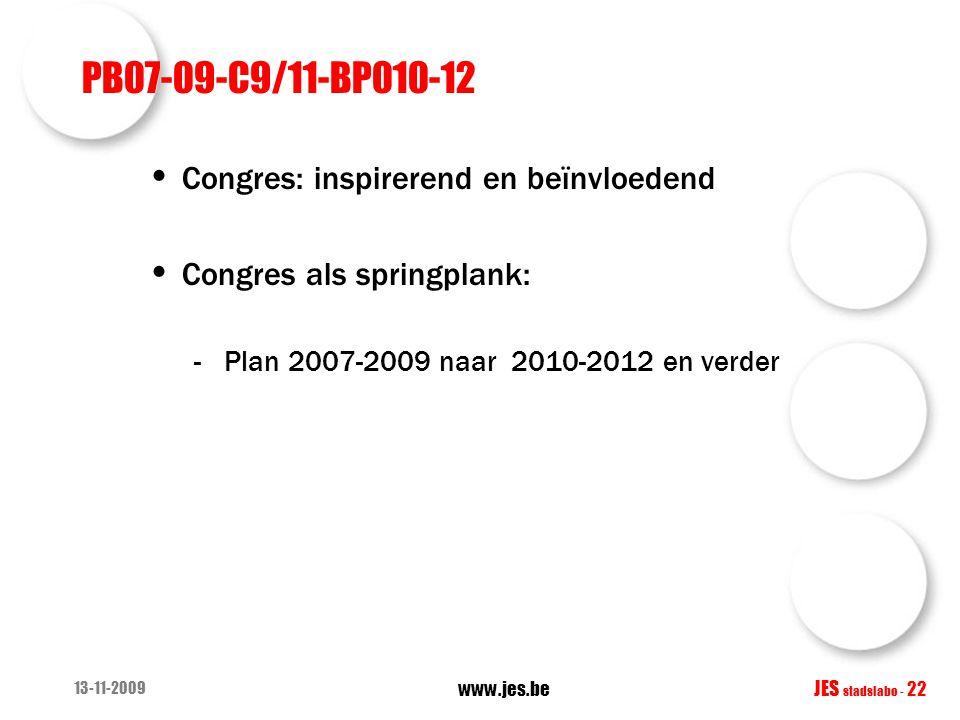 PB07-09-C9/11-BP010-12 Congres: inspirerend en beïnvloedend Congres als springplank: -Plan 2007-2009 naar 2010-2012 en verder 13-11-2009 www.jes.be JE