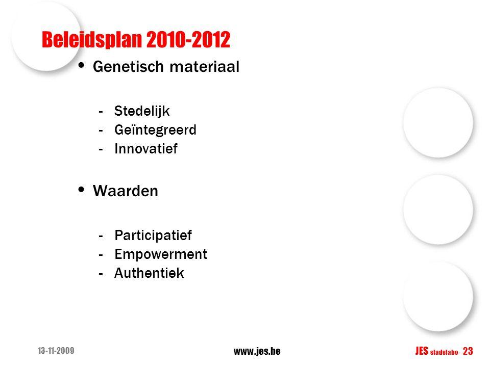Beleidsplan 2010-2012 Genetisch materiaal -Stedelijk -Geïntegreerd -Innovatief Waarden -Participatief -Empowerment -Authentiek 13-11-2009 www.jes.be J