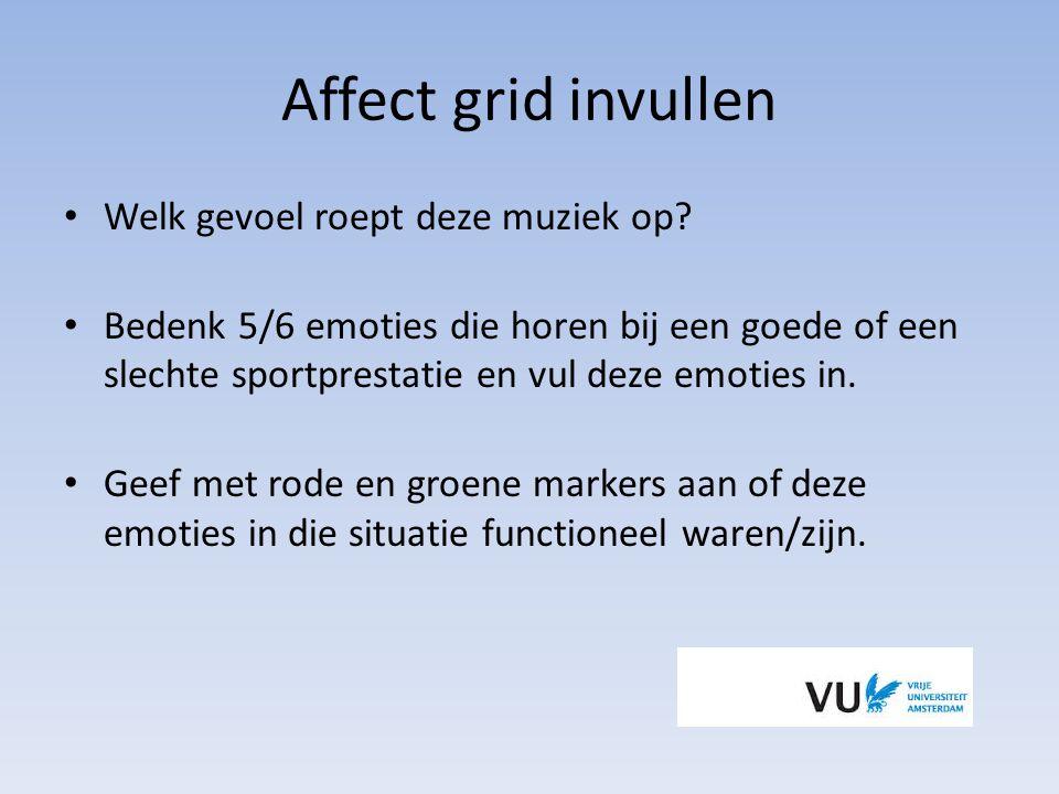 Affect grid invullen Welk gevoel roept deze muziek op? Bedenk 5/6 emoties die horen bij een goede of een slechte sportprestatie en vul deze emoties in