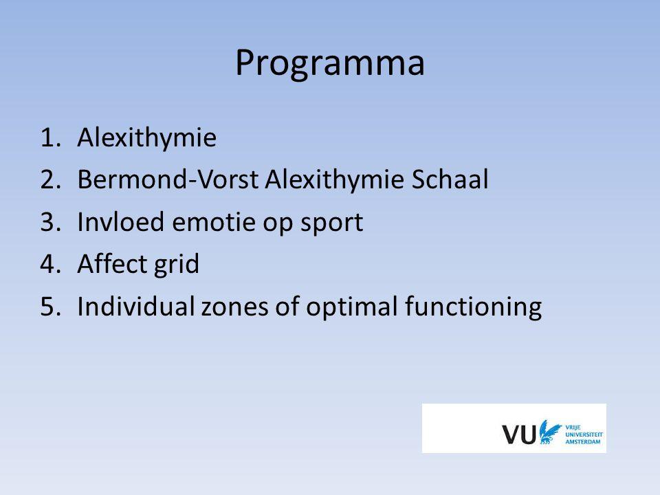 Invloed alexithymie type op sport Type I: Stressbestendig, minder geschikt voor teamsport Lexithymie: Controle behoud, flow state Type II: Emotioneel labiel, chocking Pseudo-alexithymie: stressbestendig, sociaal vaardig