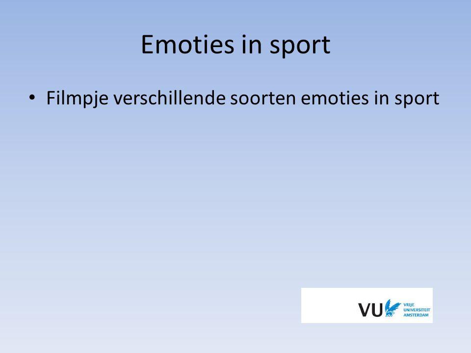 Emoties in sport Filmpje verschillende soorten emoties in sport