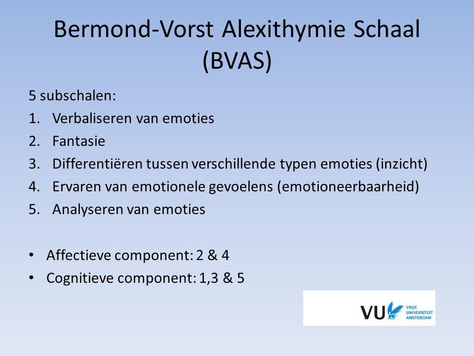 Bermond-Vorst Alexithymie Schaal (BVAS) 5 subschalen: 1.Verbaliseren van emoties 2.Fantasie 3.Differentiëren tussen verschillende typen emoties (inzic
