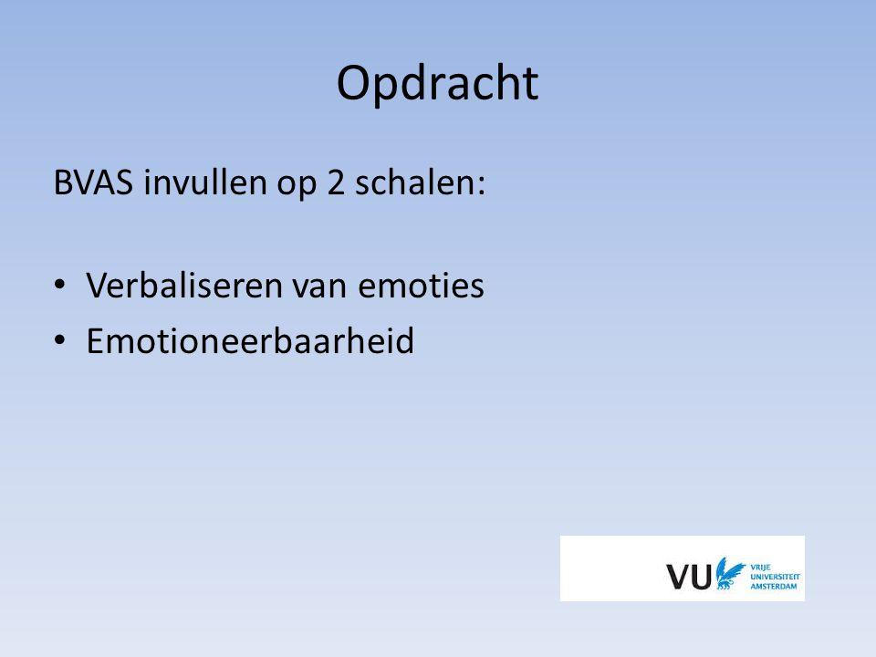 Opdracht BVAS invullen op 2 schalen: Verbaliseren van emoties Emotioneerbaarheid