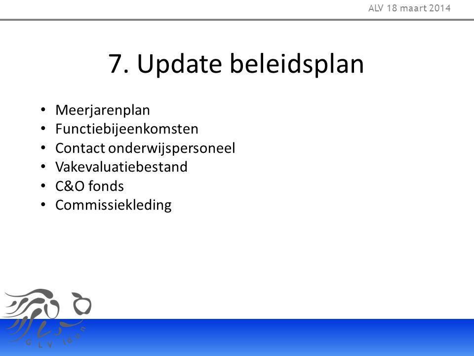 7. Update beleidsplan ALV 18 maart 2014 Meerjarenplan Functiebijeenkomsten Contact onderwijspersoneel Vakevaluatiebestand C&O fonds Commissiekleding