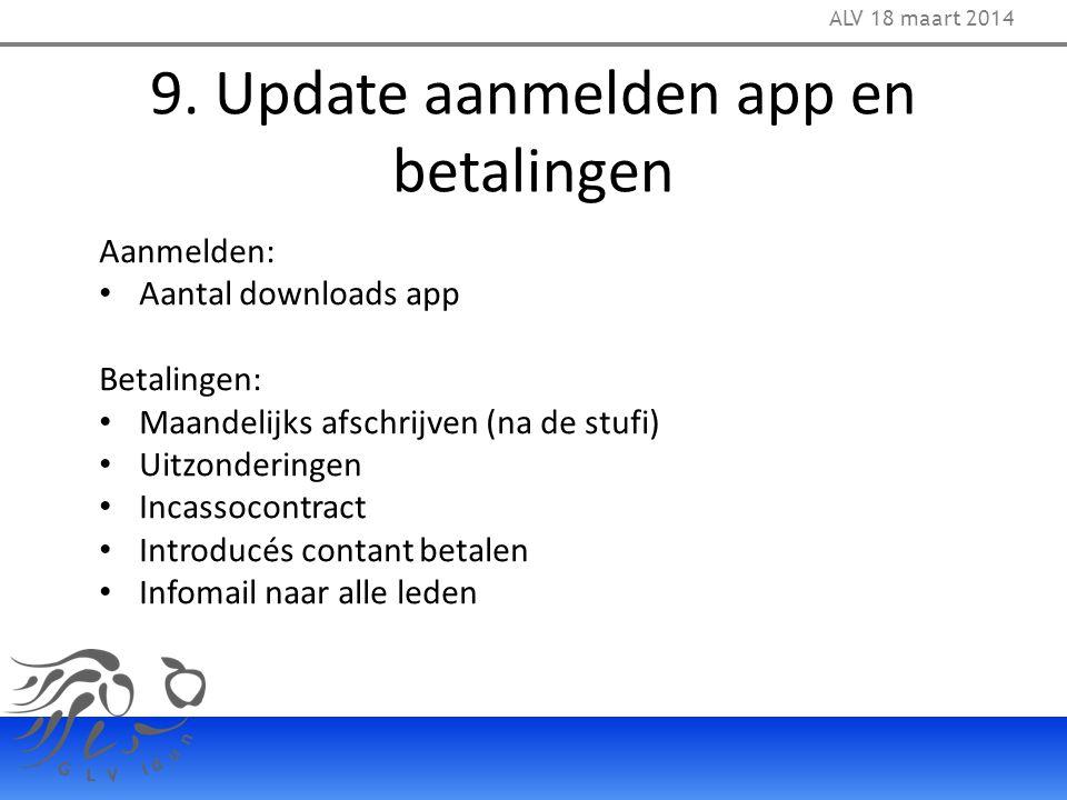 9. Update aanmelden app en betalingen ALV 18 maart 2014 Aanmelden: Aantal downloads app Betalingen: Maandelijks afschrijven (na de stufi) Uitzondering