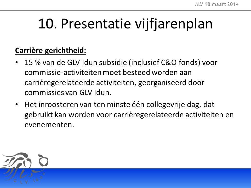 10. Presentatie vijfjarenplan Carrière gerichtheid: 15 % van de GLV Idun subsidie (inclusief C&O fonds) voor commissie-activiteiten moet besteed worde