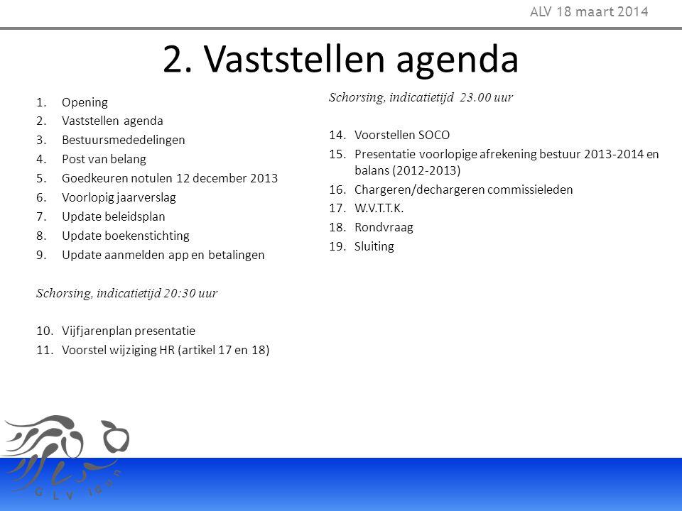 2. Vaststellen agenda 1.Opening 2.Vaststellen agenda 3.Bestuursmededelingen 4.Post van belang 5.Goedkeuren notulen 12 december 2013 6.Voorlopig jaarve