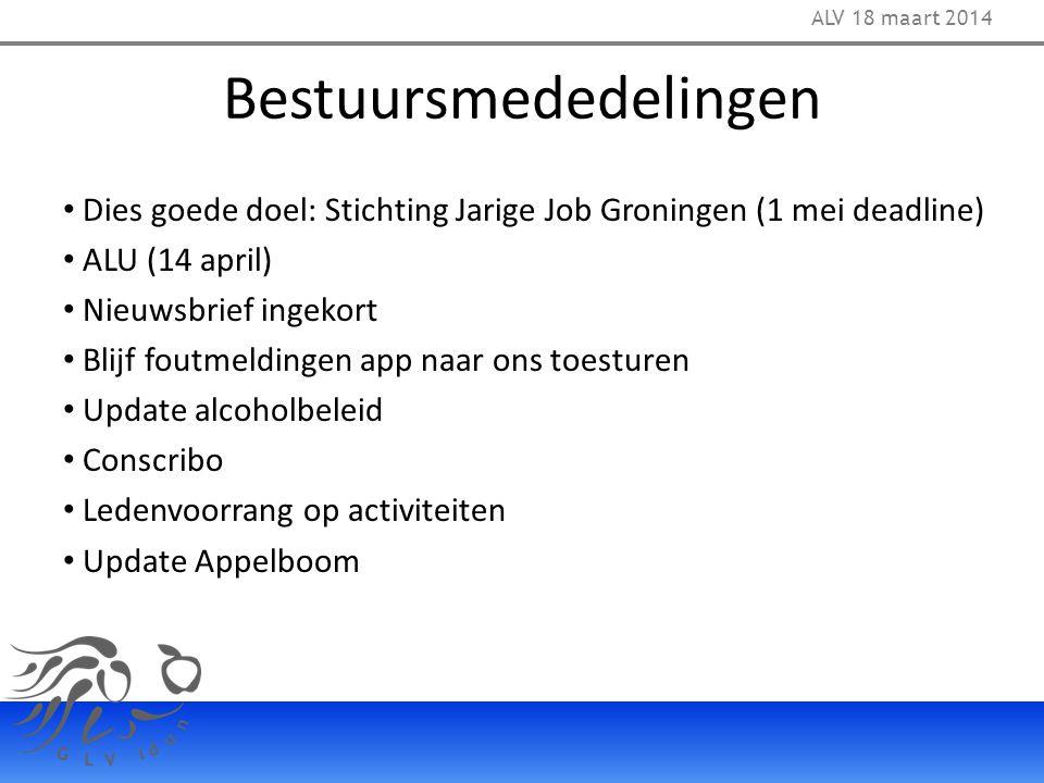 Bestuursmededelingen Dies goede doel: Stichting Jarige Job Groningen (1 mei deadline) ALU (14 april) Nieuwsbrief ingekort Blijf foutmeldingen app naar