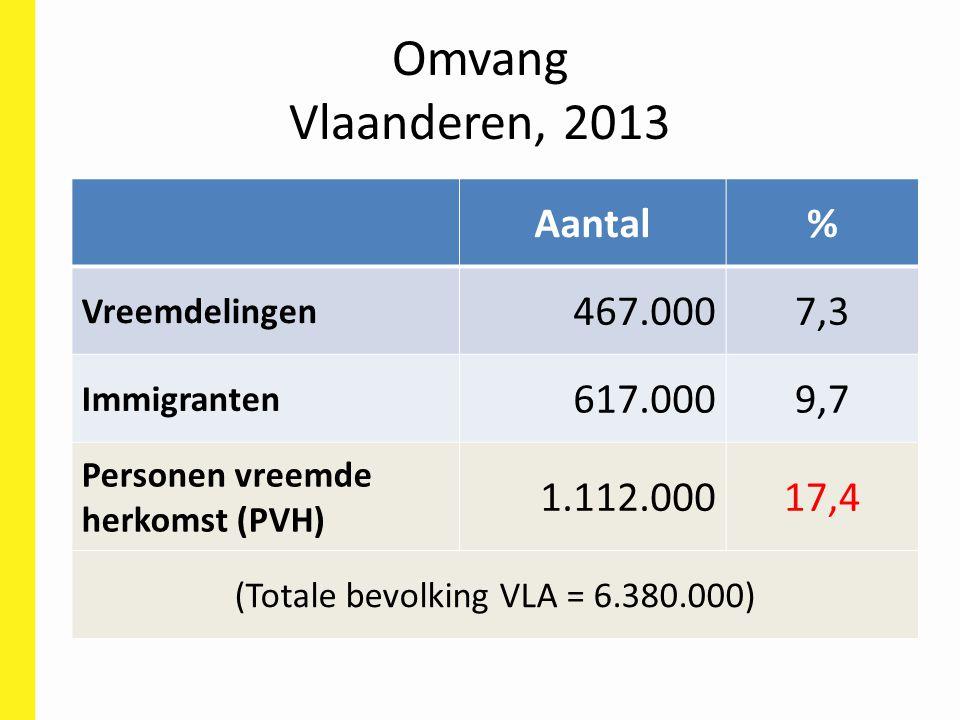 Omvang Vlaanderen, 2013 Aantal% Vreemdelingen 467.0007,3 Immigranten 617.0009,7 Personen vreemde herkomst (PVH) 1.112.00017,4 (Totale bevolking VLA =
