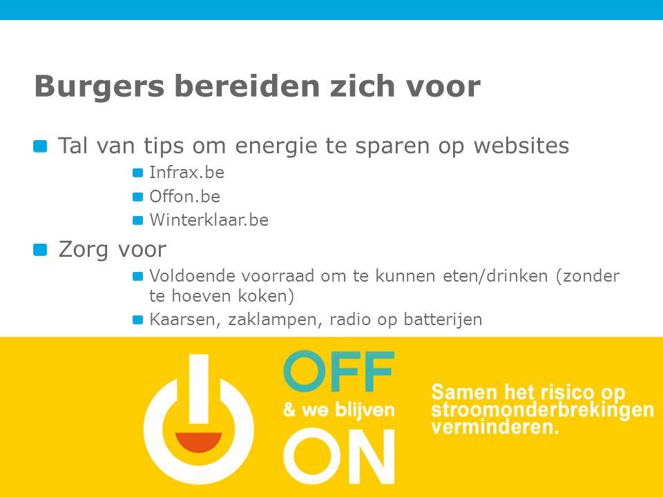 Burgers bereiden zich voor Tal van tips om energie te sparen op websites Infrax.be Offon.be Winterklaar.be Zorg voor Voldoende voorraad om te kunnen eten/drinken (zonder te hoeven koken) Kaarsen, zaklampen, radio op batterijen