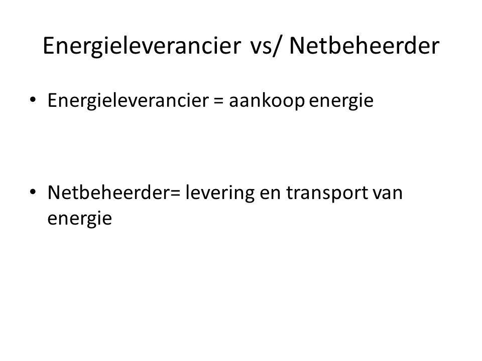 Energieleverancier vs/ Netbeheerder Energieleverancier = aankoop energie Netbeheerder= levering en transport van energie