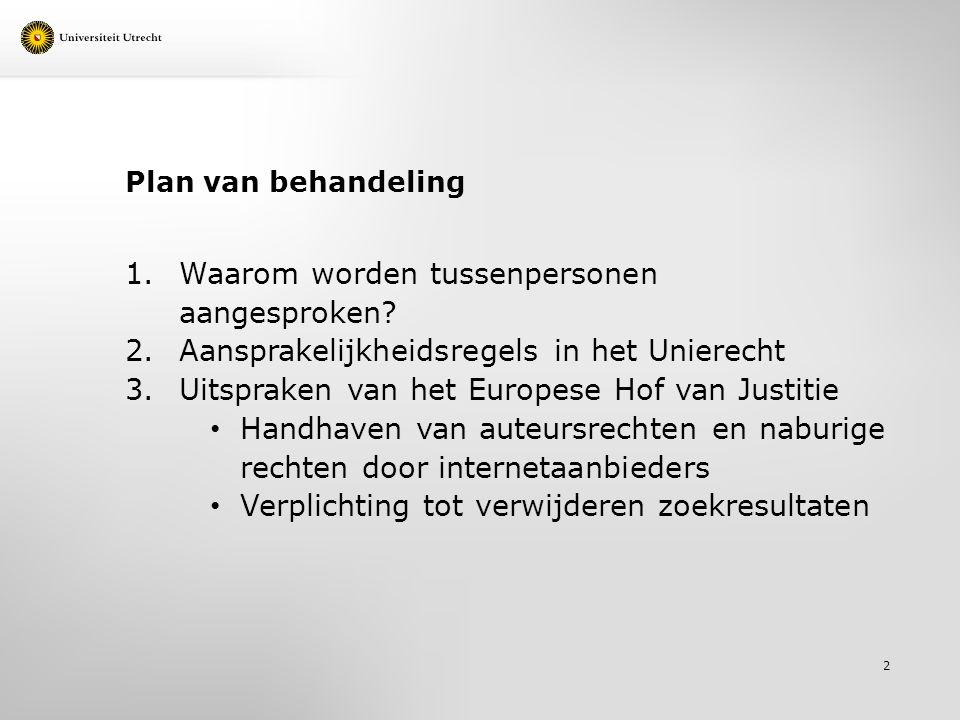 Plan van behandeling 1.Waarom worden tussenpersonen aangesproken? 2.Aansprakelijkheidsregels in het Unierecht 3.Uitspraken van het Europese Hof van Ju