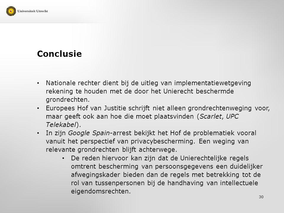 Conclusie Nationale rechter dient bij de uitleg van implementatiewetgeving rekening te houden met de door het Unierecht beschermde grondrechten. Europ