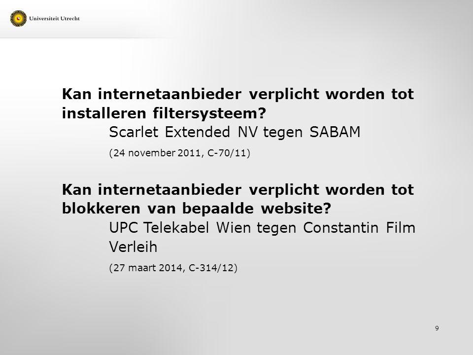 Kan internetaanbieder verplicht worden tot installeren filtersysteem.