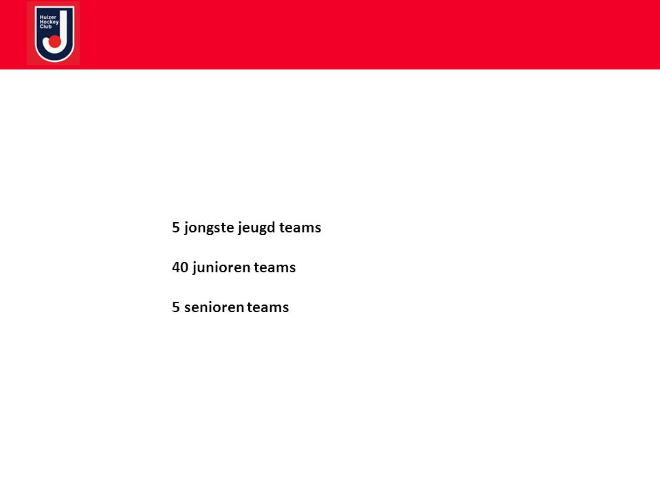 5 jongste jeugd teams 40 junioren teams 5 senioren teams