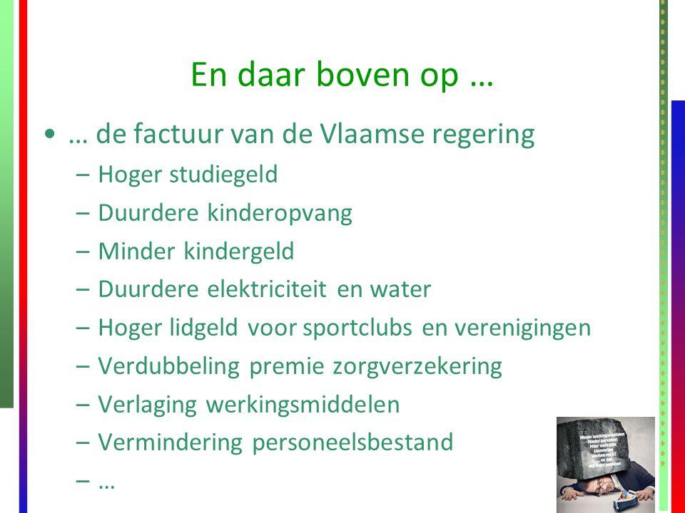 En daar boven op … … de factuur van de Vlaamse regering –Hoger studiegeld –Duurdere kinderopvang –Minder kindergeld –Duurdere elektriciteit en water –