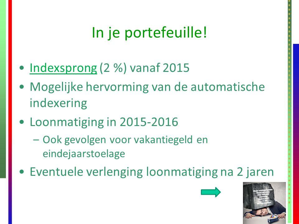 In je portefeuille! Indexsprong (2 %) vanaf 2015Indexsprong Mogelijke hervorming van de automatische indexering Loonmatiging in 2015-2016 –Ook gevolge