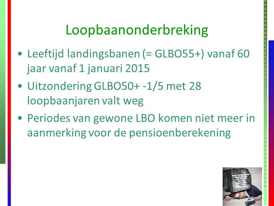 Loopbaanonderbreking Leeftijd landingsbanen (= GLBO55+) vanaf 60 jaar vanaf 1 januari 2015 Uitzondering GLBO50+ -1/5 met 28 loopbaanjaren valt weg Per