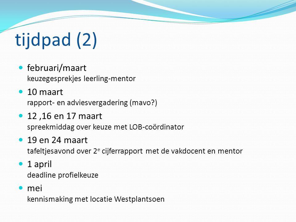 tijdpad (2) februari/maart keuzegesprekjes leerling-mentor 10 maart rapport- en adviesvergadering (mavo?) 12,16 en 17 maart spreekmiddag over keuze me