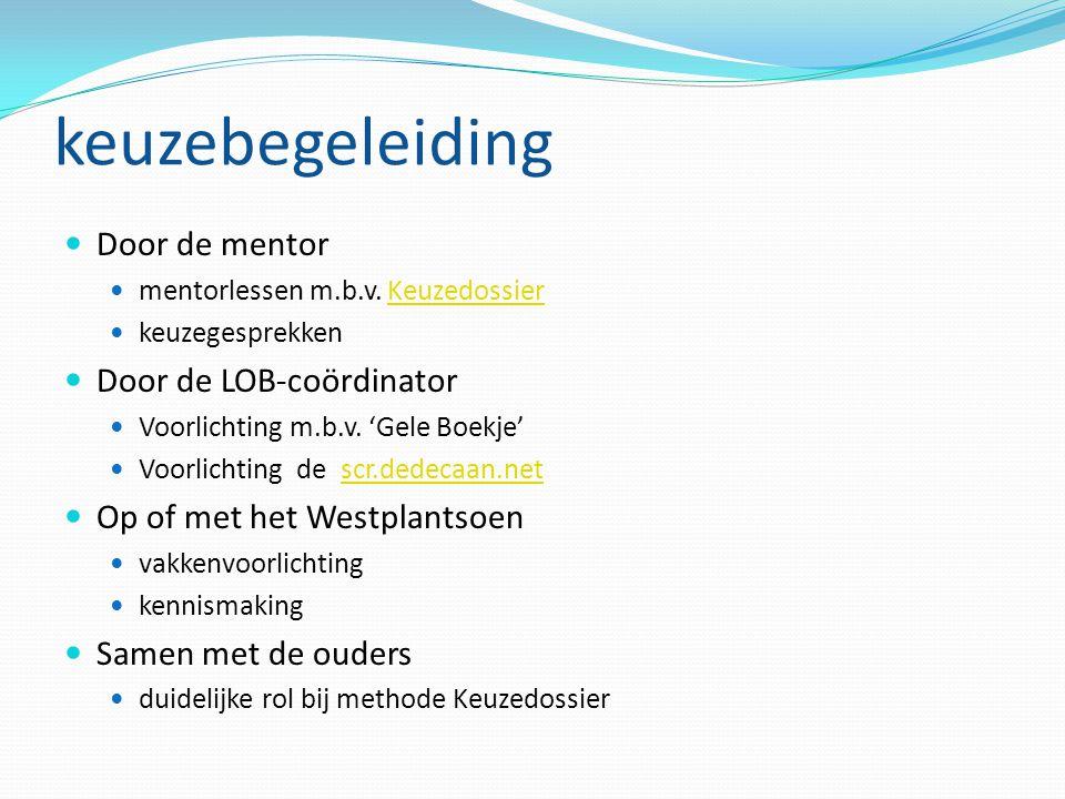 keuzebegeleiding Door de mentor mentorlessen m.b.v.