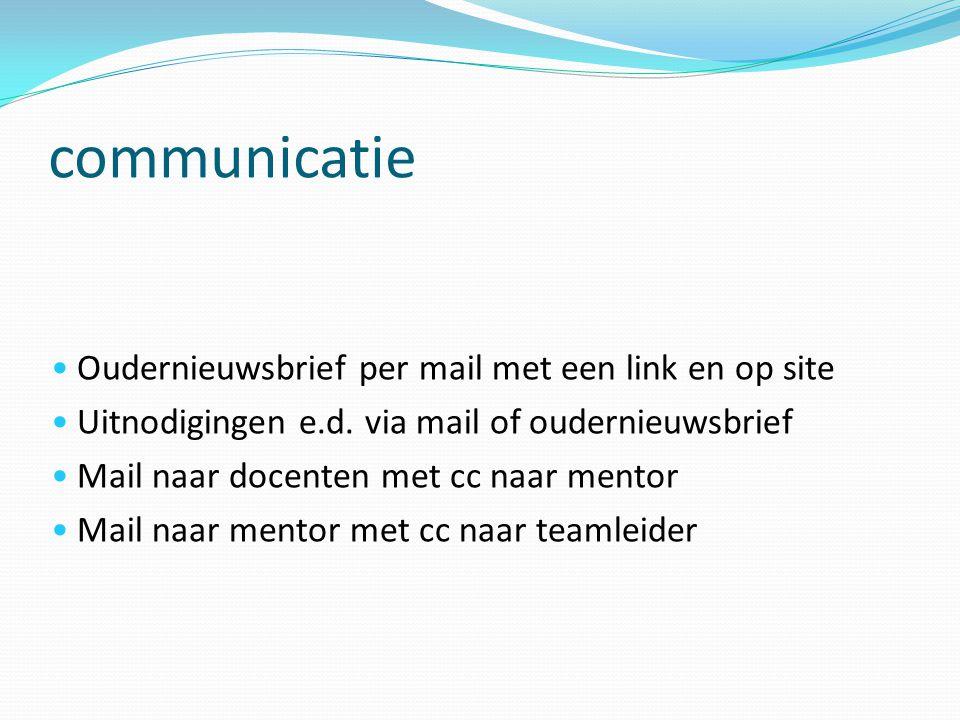 communicatie Oudernieuwsbrief per mail met een link en op site Uitnodigingen e.d. via mail of oudernieuwsbrief Mail naar docenten met cc naar mentor M
