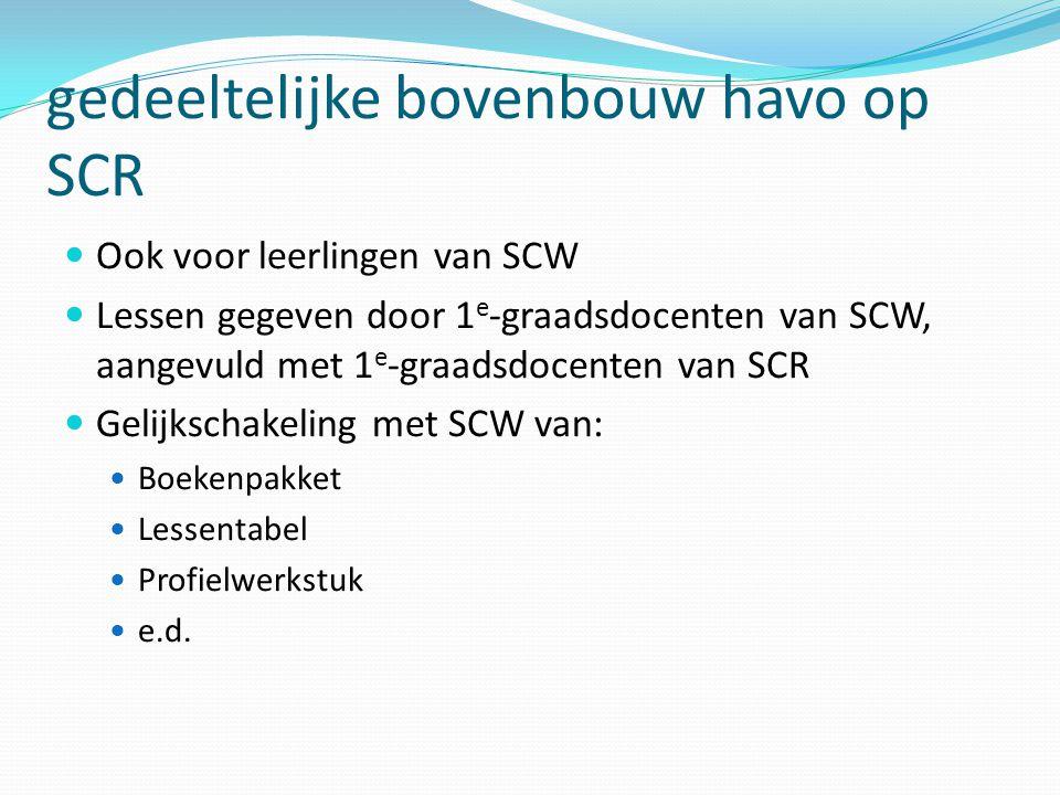 gedeeltelijke bovenbouw havo op SCR Ook voor leerlingen van SCW Lessen gegeven door 1 e -graadsdocenten van SCW, aangevuld met 1 e -graadsdocenten van SCR Gelijkschakeling met SCW van: Boekenpakket Lessentabel Profielwerkstuk e.d.