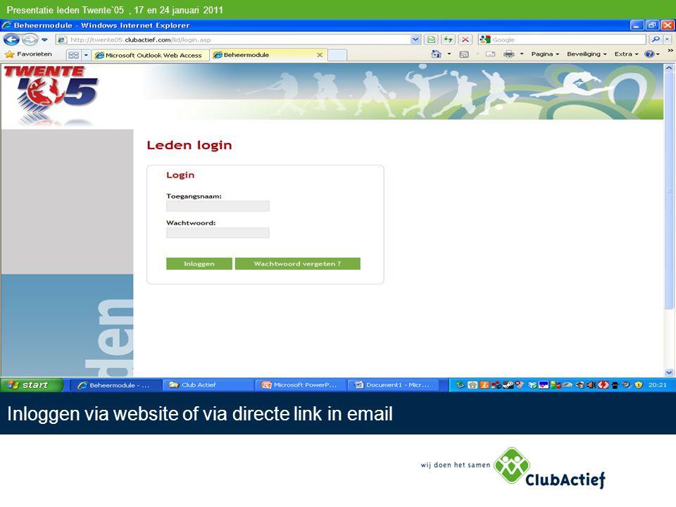 Presentatie leden Twente`05, 17 en 24 januari 2011 Inloggen via website of via directe link in email