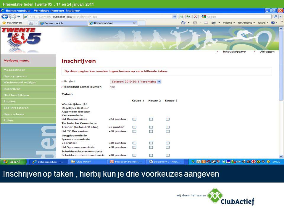 Einde presentatie voor leden Twente`05 17 en 24 januari 2011