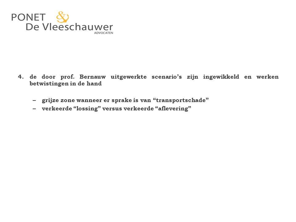 """4. de door prof. Bernauw uitgewerkte scenario's zijn ingewikkeld en werken betwistingen in de hand – grijze zone wanneer er sprake is van """"transportsc"""