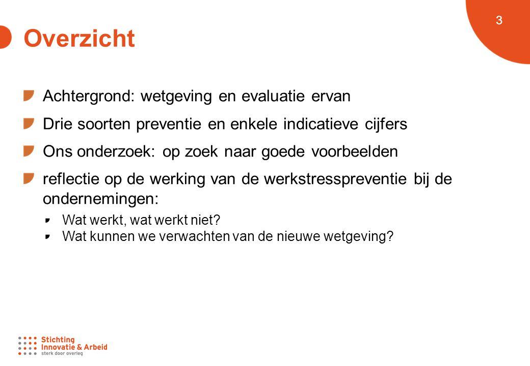 4 Achtergrond: wetgeving Oud Wet 'Welzijn op het werk' (1996 - 1998) NAR-CAO n° 72 'Stressbeleid' (1999) Integratie aanpak 'Grensoverschrijdend gedrag' (2002) KB 'Voorkoming psychosociale belasting' (2007) Nieuw Wetswijziging 28.2 /28.3.14, in voege per 1.9.14 KB 10.4.2014 'Preventie psyc-soc risico's', per 1.9.14