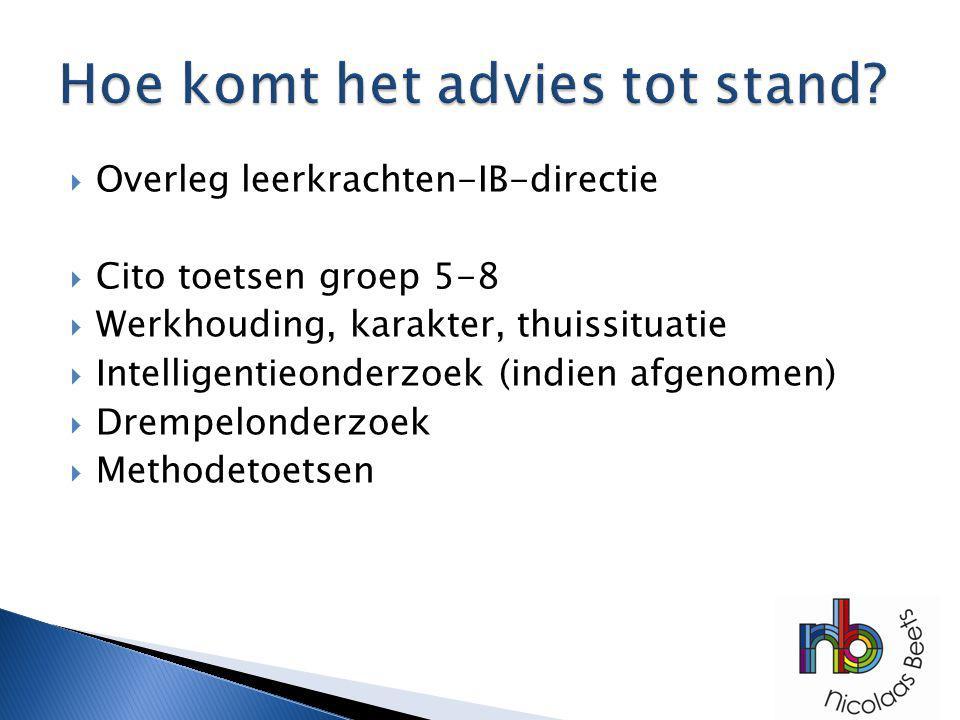  Overleg leerkrachten-IB-directie  Cito toetsen groep 5-8  Werkhouding, karakter, thuissituatie  Intelligentieonderzoek (indien afgenomen)  Dremp