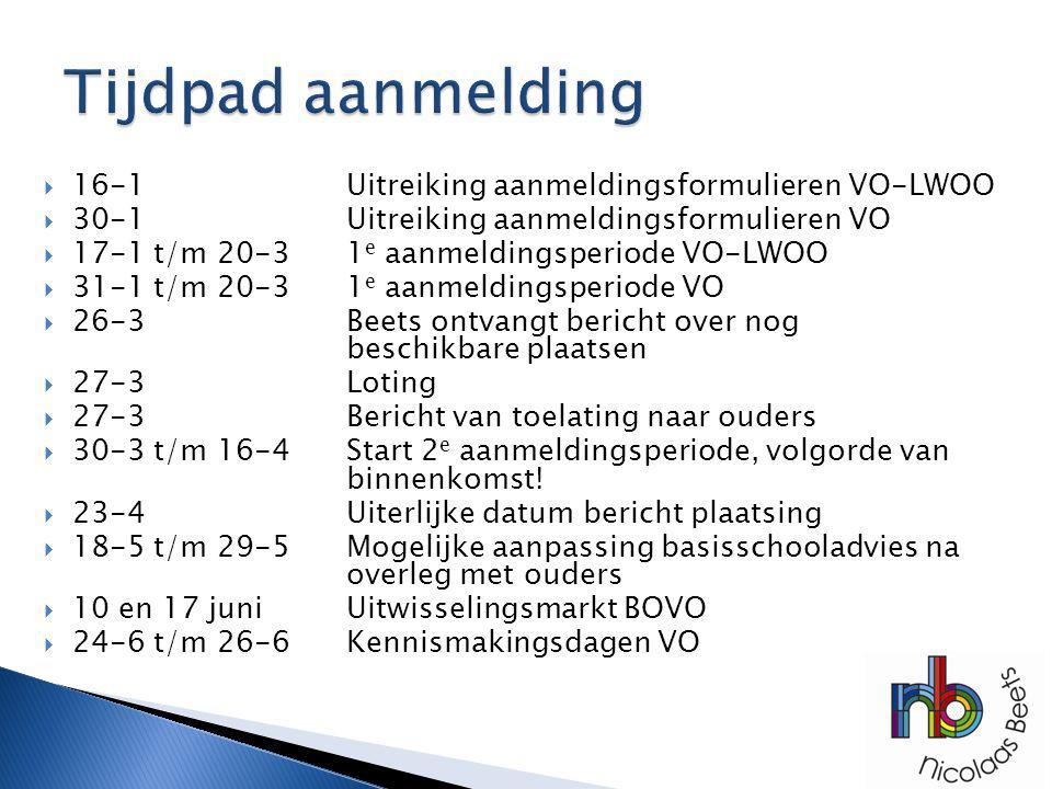  16-1Uitreiking aanmeldingsformulieren VO-LWOO  30-1Uitreiking aanmeldingsformulieren VO  17-1 t/m 20-31 e aanmeldingsperiode VO-LWOO  31-1 t/m 20-31 e aanmeldingsperiode VO  26-3Beets ontvangt bericht over nog beschikbare plaatsen  27-3Loting  27-3Bericht van toelating naar ouders  30-3 t/m 16-4Start 2 e aanmeldingsperiode, volgorde van binnenkomst.