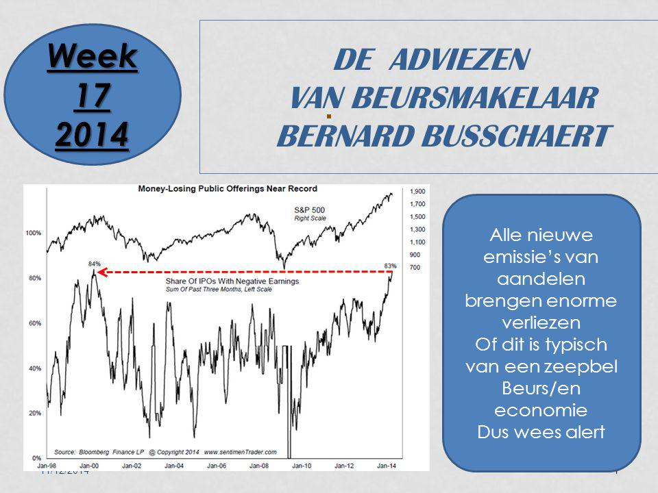 11/12/20141 DE ADVIEZEN VAN BEURSMAKELAAR BERNARD BUSSCHAERT Week 17 2014 Alle nieuwe emissie's van aandelen brengen enorme verliezen Of dit is typisch van een zeepbel Beurs/en economie Dus wees alert